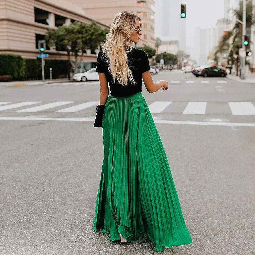 Gusspower Mujer Faldas Largas Y Elegantes Faldas Plisada Verano Faldas Mujer Primavera Vestidos Mujer Moda Alta Cintura Vintage Suelta Playa Maxi Largo Falda
