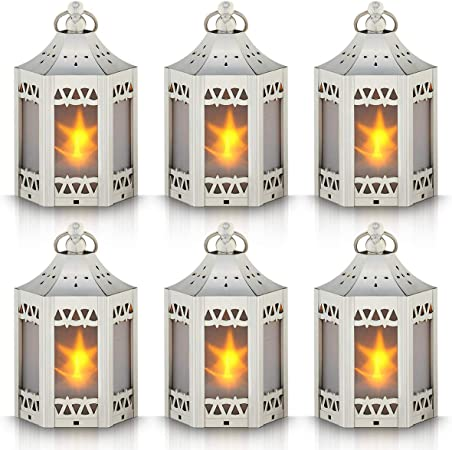 Set of 6 Copper Brushed Mini Star Lantern with Flickering LED,Battery Included,Decorative Hanging Lantern,Christmas Decorative Lantern,Indoor Candle Lantern,Battery Lantern Indoor Use,Zkee