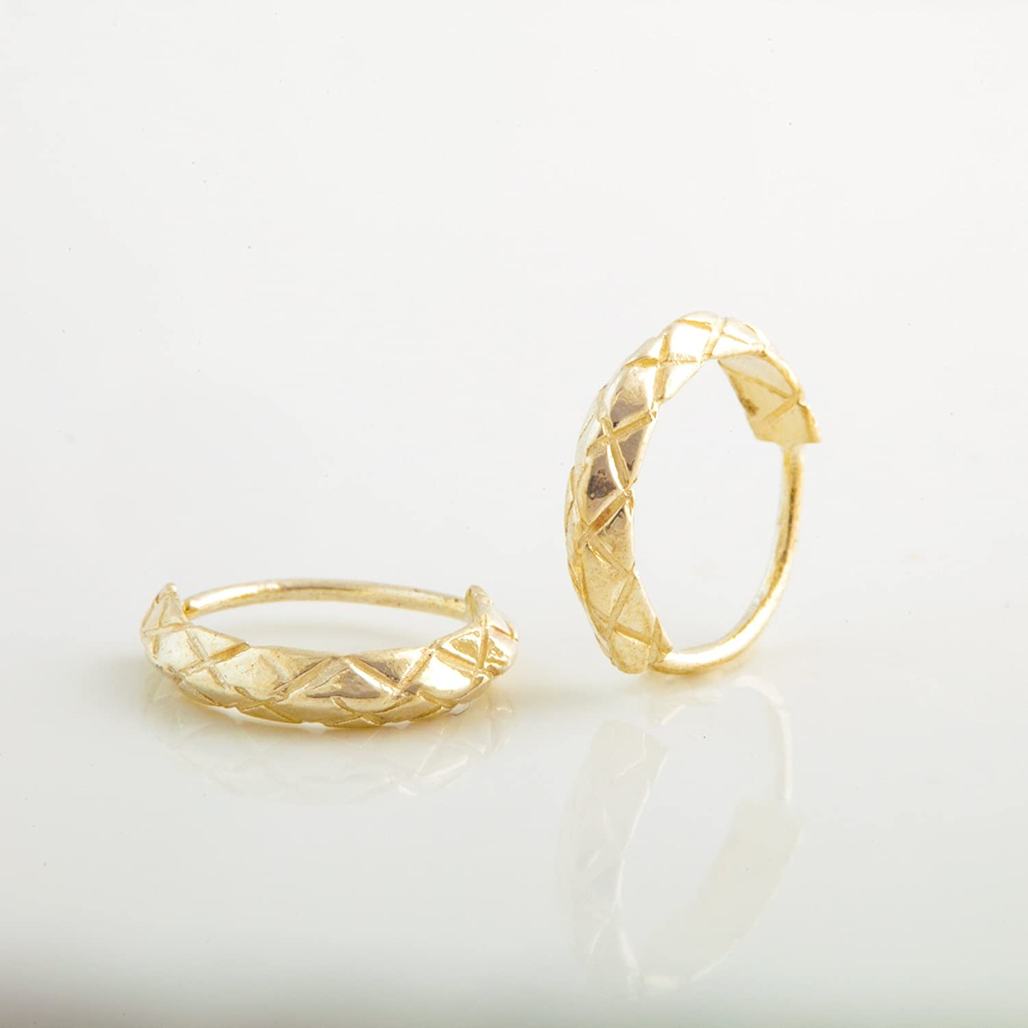 Amazon Com Small Hoop Earrings 14k Yellow Or Rose Gold Indian Style Tiny Hoop Set Fits Helix Cartilage Tragus Ear Piercing Handmade Unique Jewelry Handmade