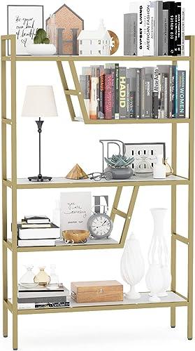 Teraves 5-Tier Adjustable Bookshelf Wood Bookcase