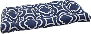 Pillow Perfect Outdoor Carmody Wicker Loveseat Cushion, Navy