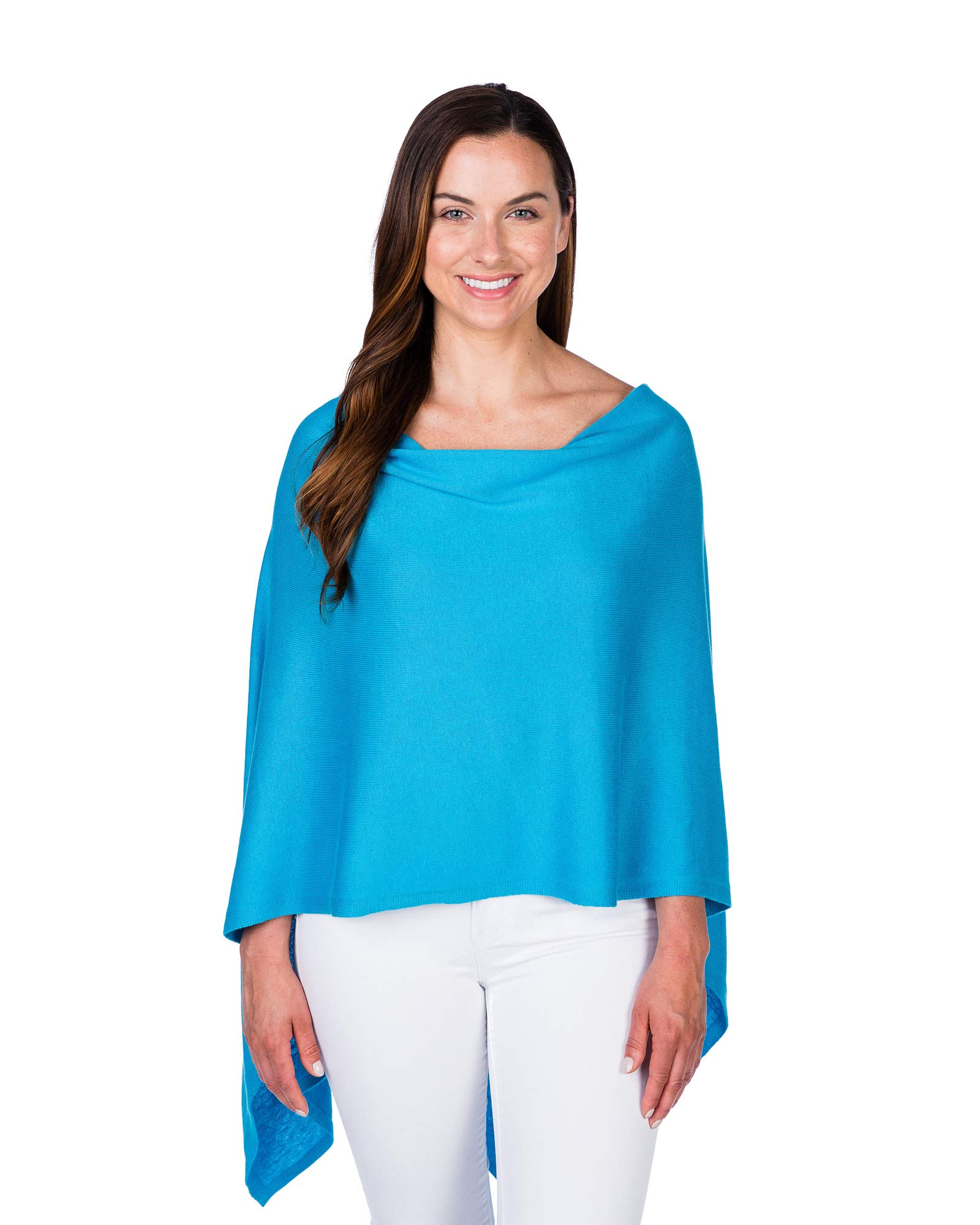 Caroline Grace by Alashan Trade Wind Cashmere Blend Dress Topper Poncho-Turquois