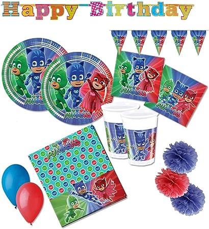 Procos - Kit N 46 de PJ Masks - Juego de mesa de cumpleaños y adornos