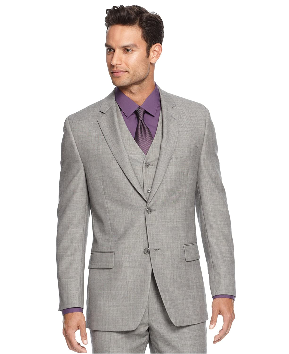 Alfani RED Slim Fit Light Gray Stepweave Two Button Wool Jacket (36R)
