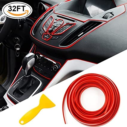 Car Chrome Door Trim Strips   SEAMETAL TYP0030 32ft For Red Interior  Stripes Roll Gap Filler