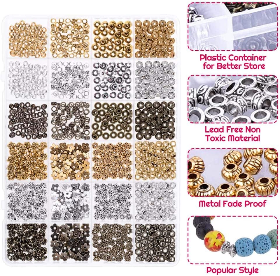 800 PCS Wholesale Silver Gold Plated Round Smooth Spacer Loose Beads Jewelry DIY