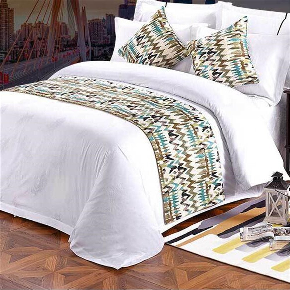 YIH Bed Scarf For Foot Of Bed, Luxury Bedding Runner Bedroom Decorative Hotel 94 x 19 Inch