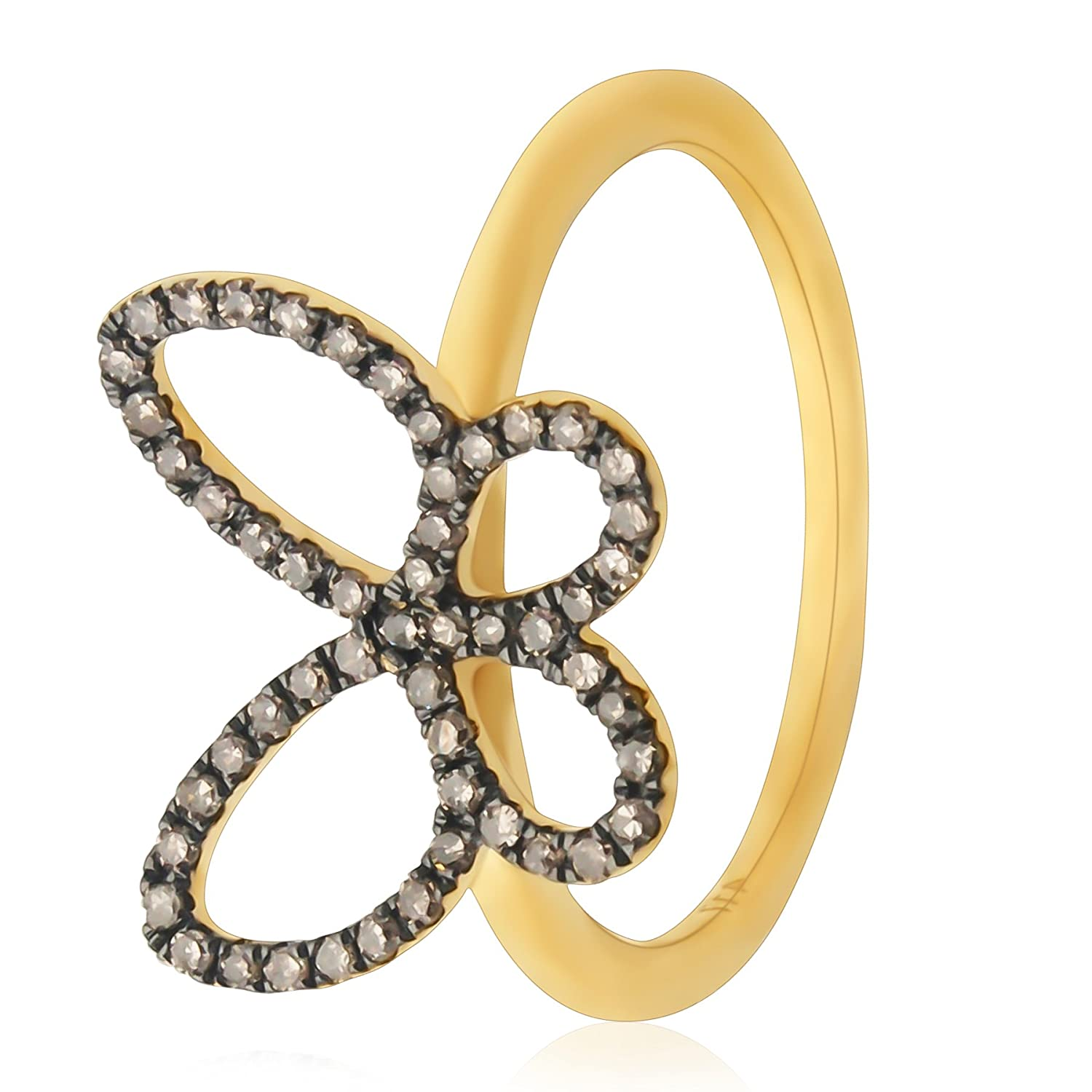 Prism Jewel 0.26 Carat Natural Brown Diamond Butterfly Style Delicate Ring