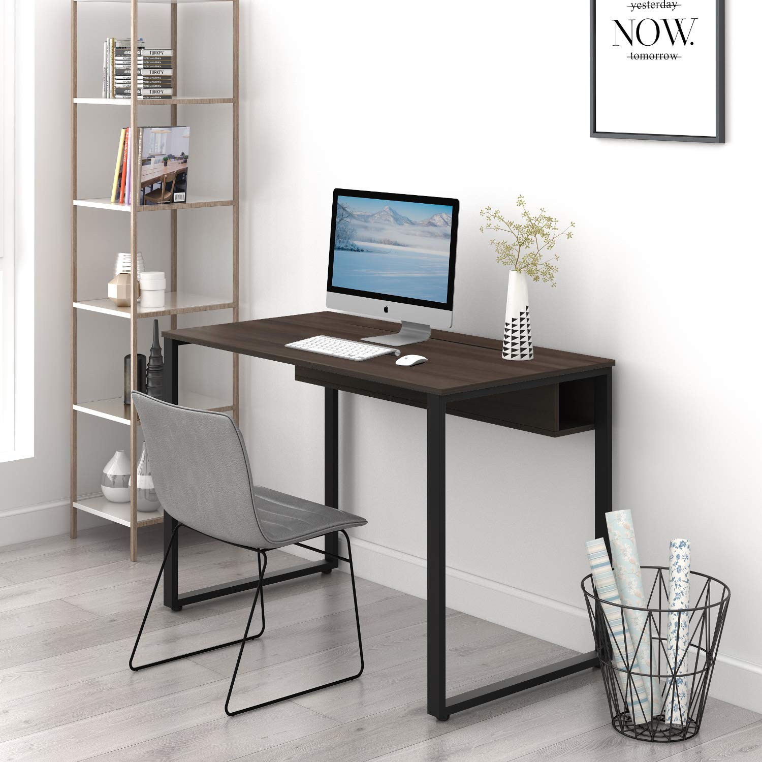 DEVAISE Computer Desk, Study Writing Table with Built-in Cable Management, Home Office Workstation by DEVAISE