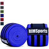 """RIMSports Best Weight Lifting Knee Wraps (Pair) for Cross Training WODs, Gym Workout, Weightlifting, Fitness & Powerlifting - Knee Straps for Squats - For Men & Women- 80""""-Compression &Elastic Support"""