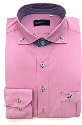 Francisco Pavón Camisa Casual Guayabera Rosa Chicle con Cuello y puño de 1000 Rayas celestes y Blancas: Amazon.es: Ropa y accesorios