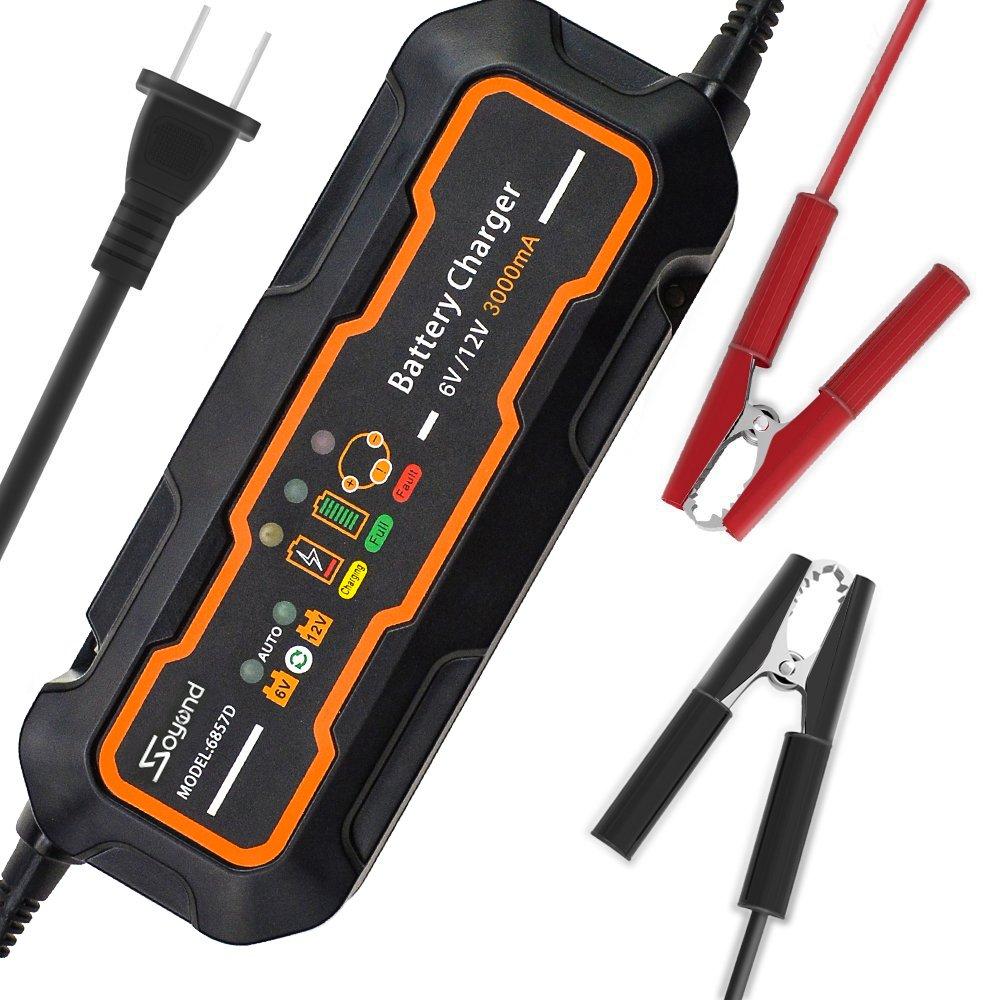 Soyond 6V/12V 3 Amp Smart Car Battery Charger and maintainer 3000mA