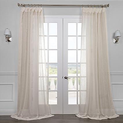 Half Price Drapes SHLNCH J0105 108 Linen Sheer Curtain Open Weave Cream