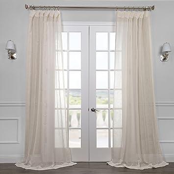 Half Price Drapes SHLNCH J0105 108 Linen Sheer Curtain, Open Weave Cream