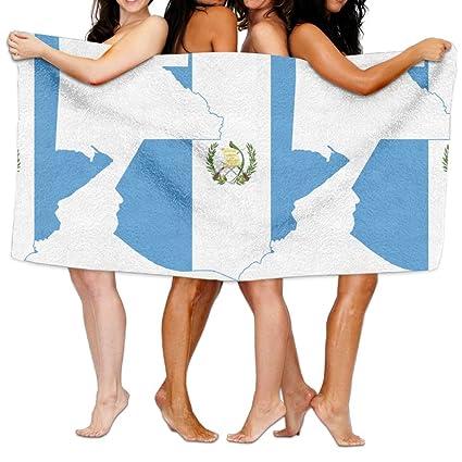 Bandera dazzlingly hermoso mapa de Guatemala largo grapa algodón toalla, super absorbente toalla de baño