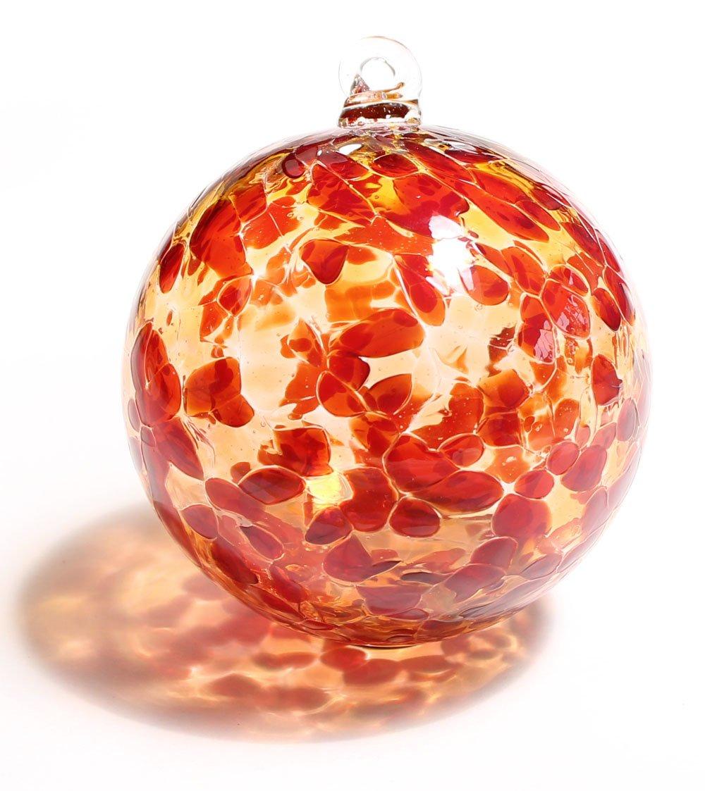 Friendship Ball Garnet Red & Gold Topaz 4 Inch Kugel Witch Ball by Iron Art Glass Designs