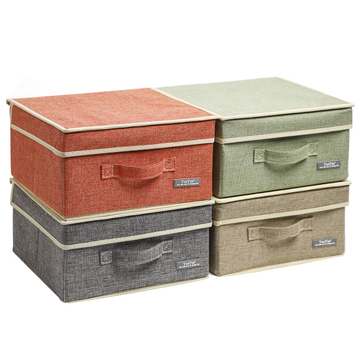 YueYue Small 4 Pack Fabric Stroage Box with Lids, Linen Foldable Stroage Box with lids 4 Color Set 12.4in/12in/6.7in by YueYue