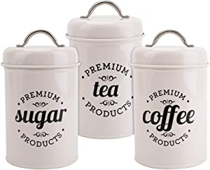 Hedume Set of 3 Airtight Kitchen Canister Decorations with Lids, Coffee, Tea, Sugar Metal Containers, Decorative Nesting Kitchen Canister Jars, Food Storage