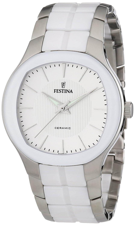 Festina F16627/1 - Reloj analógico de Cuarzo para Hombre con Correa de Acero Inoxidable, Color Blanco