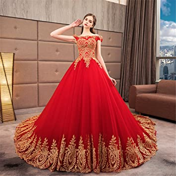 ELEGENCE-Z Vestido De Novia Rojo De Cola Larga Cena De Encaje Sexy Delgado Vestido