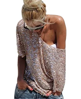 6dff738c07 YOLI Women's Off Shoulder Sequin Glitter Sparkle Party Top Blouse Shirt  Plus Size with Sleeve Gold