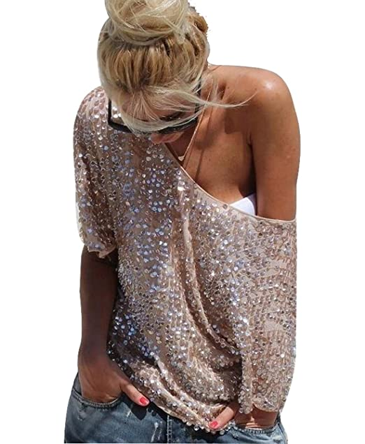 69768dd601 YOLI Women s Off Shoulder Sequin Glitter Sparkle Party Top Blouse Shirt  Plus Size With Sleeve at Amazon Women s Clothing store