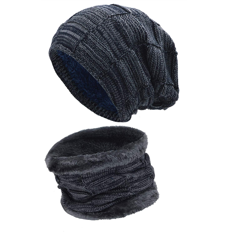Stynice Gorro Invierno Hombre con Bufanda Calentar de Punto Sombreros y Bufanda para Mujeres y Hombres