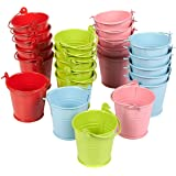 Juvale Pack of 24 2-Inch Small Metal Buckets - Mini Pails with Handles - Perfect for Party Favors, Candy, Votive Candles, Trinkets, Small Plants - Green, Blue, Pink, Red
