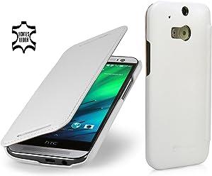 StilGut Book Type, housse en cuir pour HTC One M8 & HTC One M8s, blanc - nappa