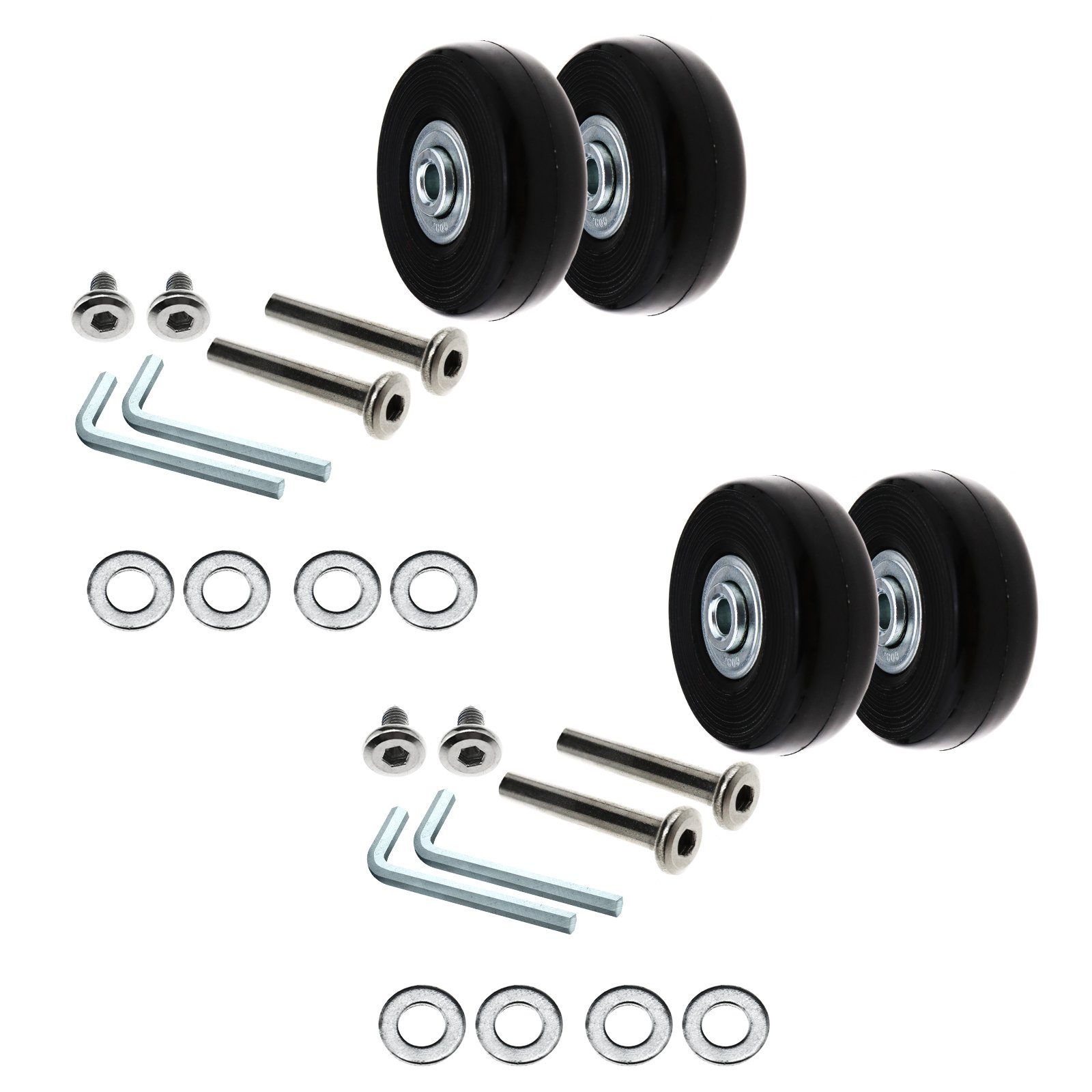 SING F LTD Luggage Suitcase Replacement Wheels 50mm Repair Tools kit Axles Rubber Deluxe, 4 Set
