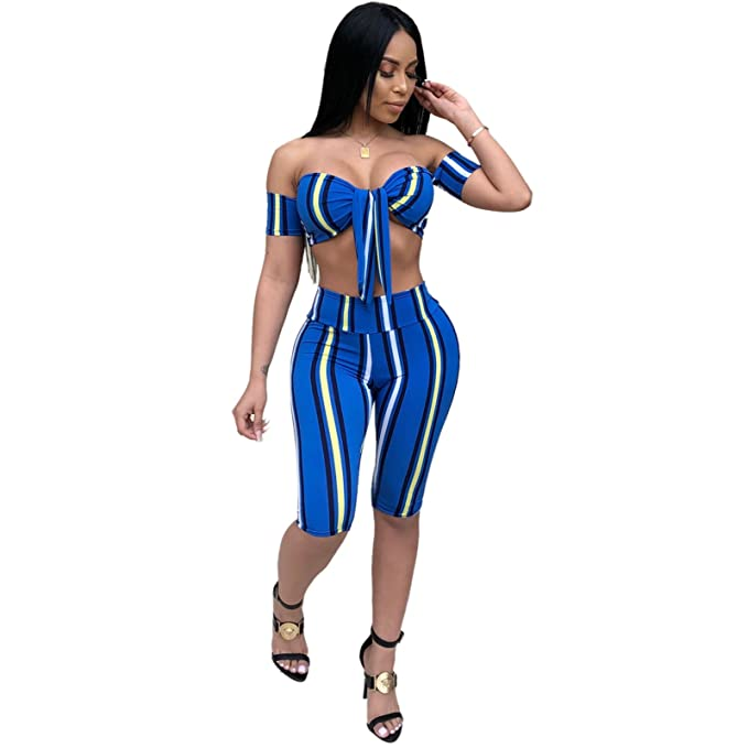 6a9ea4ccd2 PINLI Strapless Crop Top Two Piece Outfits for Women Sexy Shorts Summer  Plus Size Blue S