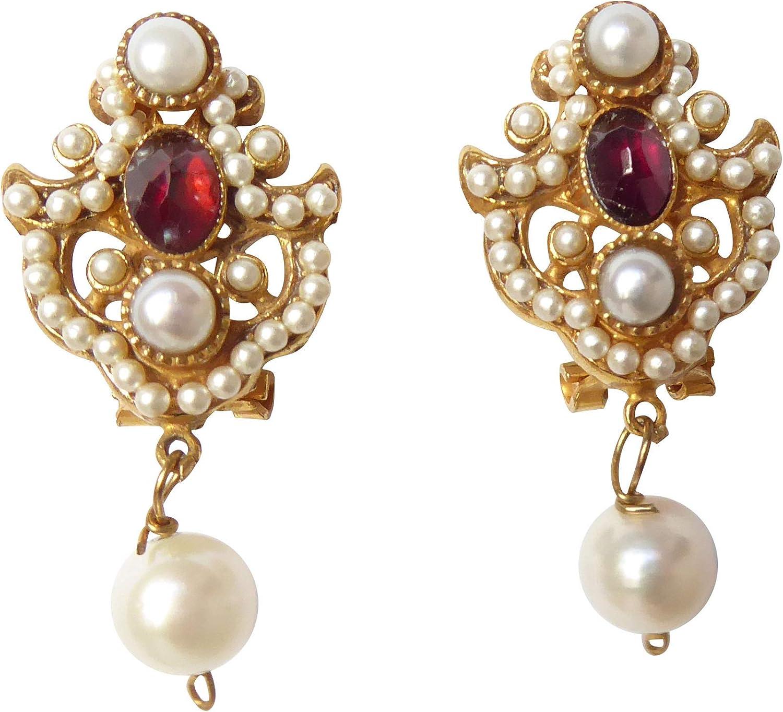 Pendientes de perlas de color granate rojo, perlas de agua dulce blancas, plata chapada en oro, hechos a mano, diseño único retro, vintage, perfecto como regalo de boda elegante