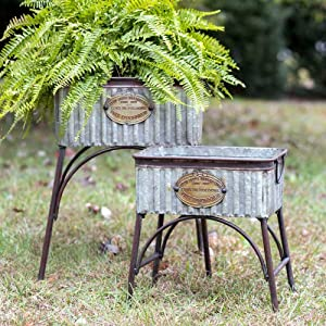 Galvanized Steel Garden Flower Planters with Stands Poland Set of 2