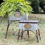 Galvanized Steel Garden Flower Planters with Stands Poland Set of 2