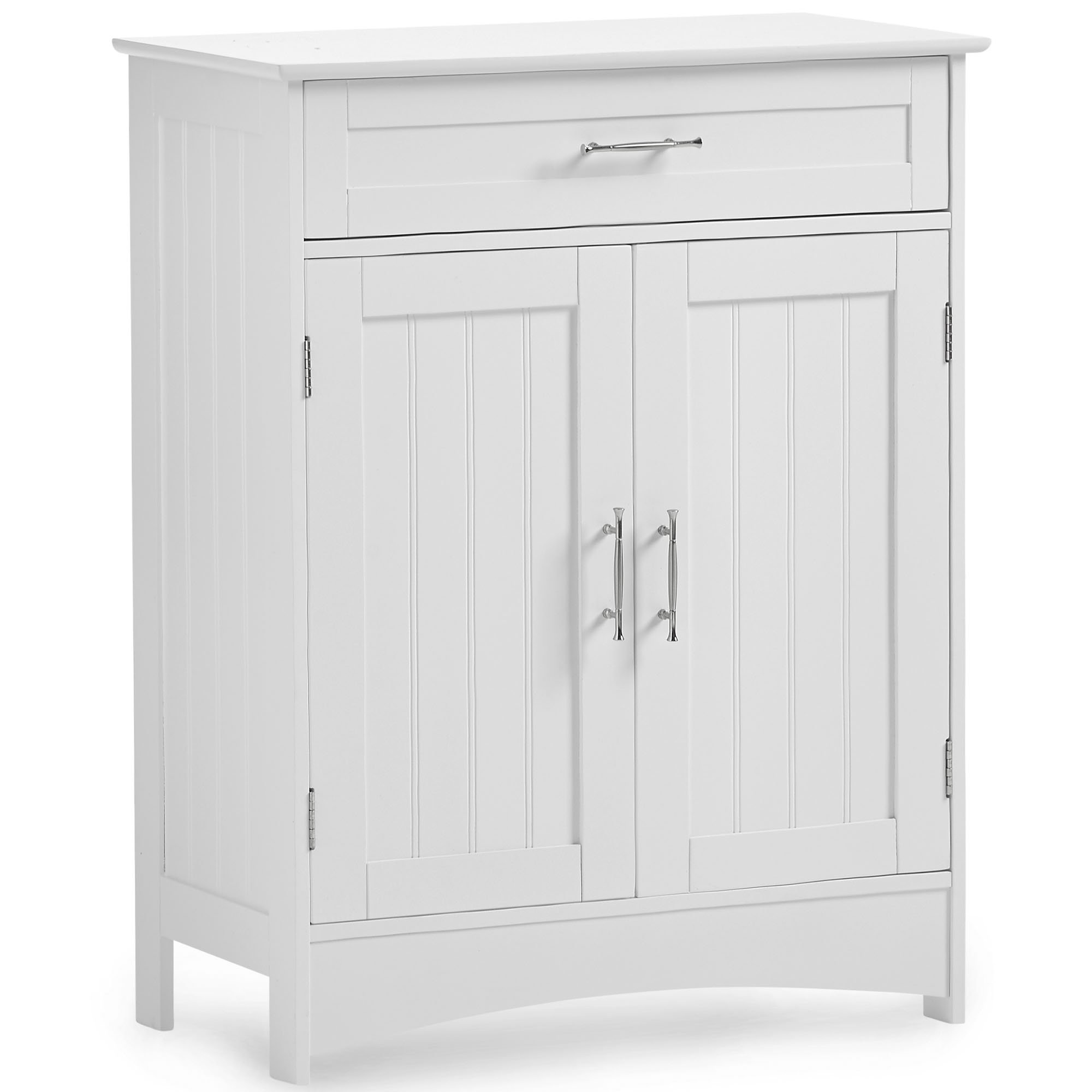 VonHaus Bathroom Floor Cabinet Storage Unit with Drawer and 2 Doors - Classic White Furniture with Chrome Handles (Includes All Hardware)