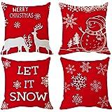 Funda de almohada de Navidad Fundas de almohada rojas Funda de almohada de feliz Navidad Fundas de cojín 18 pulgadas…