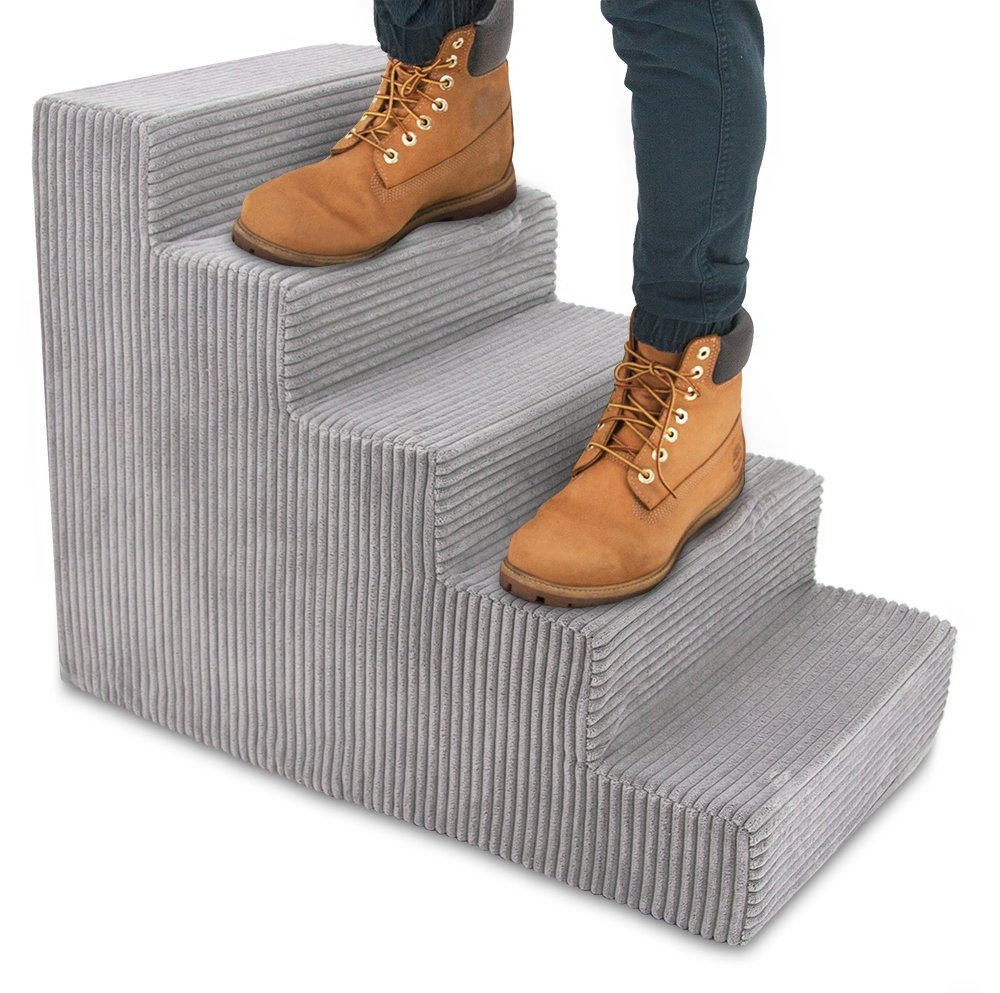 Best Pet Supplies Foam Pet Stairs 3-Step, Gray Linen, Small (15 x 13.5 x 18 inches) Inc. ST235T-S