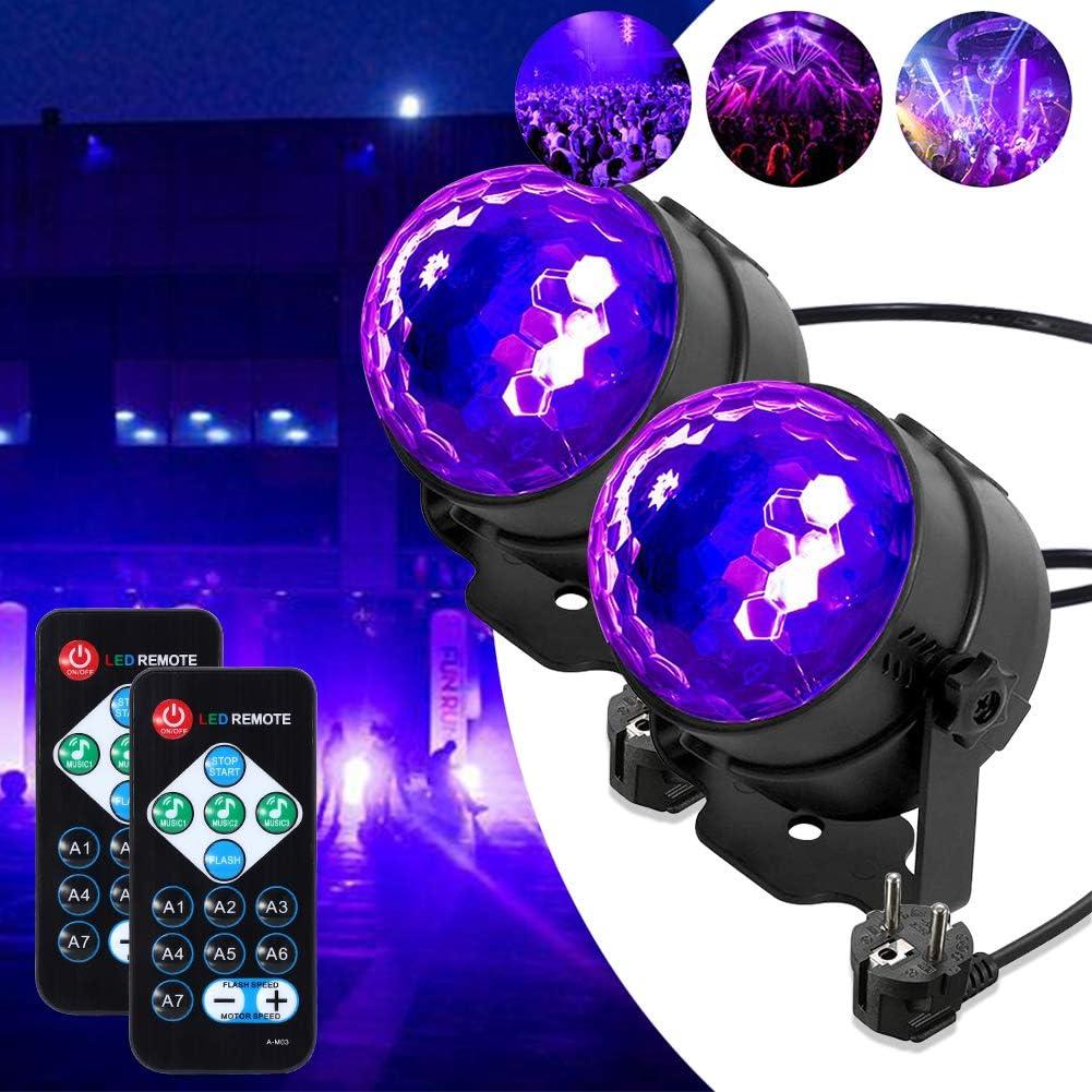 Lunsy - Luz negra LED UV con efectos de luz, bola de discoteca, iluminación de fiesta, con mando a distancia y control de sonido, 3 W, luz de ...