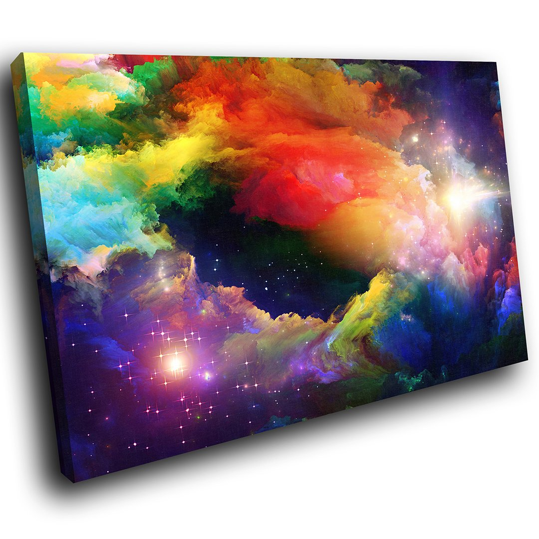 AB357A Framed Canvas Print Colourful Wall Art - Colourful Stars Cool- Modern Abstract Living Room Bedroom Picture Piece Home Decor Interior Design Easy Hang Guide(30X20CM) Whats On Your Wall.com