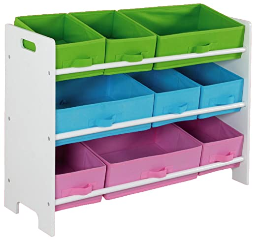 Amazon.com: Home Basics SS00685 Storage Shelf With 9 Bins: Kitchen U0026 Dining