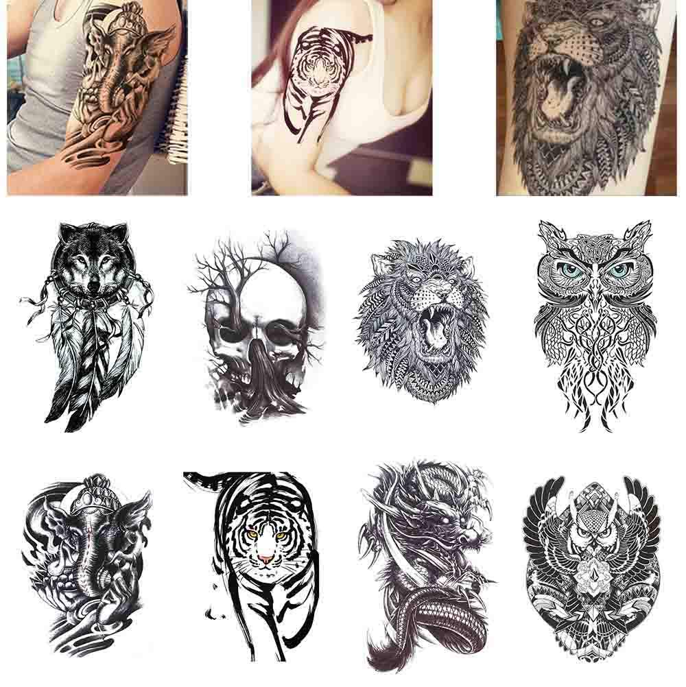Amazon Com Cokohappy 8 Sheets Large Temporary Tattoo Half Arm Extra Sleeve Elephant Dead Skull Lion Owl Dragon Tiger Wolf For Guys Man Shoulder Chest Back Beauty