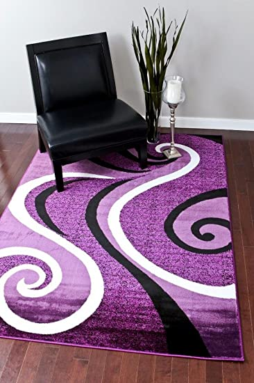 Amazon Com 0327 Purple Black White 5 2x7 2 Area Rug Abstract Carpet