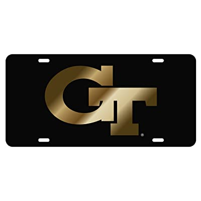 Georgia Tech Black with Gold Gt Mirrored Laser Cut Inlaid License Plate: Automotive