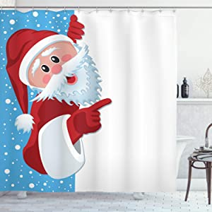 "Ambesonne Christmas Shower Curtain, Cloth Fabric Bathroom Decor Set with Hooks, Winter Snow Season, 70"" Long"