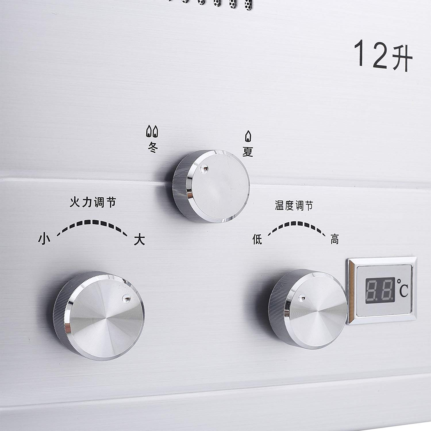 FlowerW 12L LNG Gas Warmwasserbereiter 3.2GPM Tankless Instant Boiler mit Dusche und LCD Anzeige Fl/üssigerdgas Durchlauferhitzer Set 12L LNG 3.2GPM