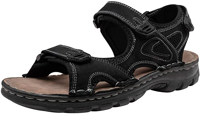 JOUSEN Men's Sandals Outdoor Open Toe Water Beach Sandal Leather Sport Sandal (10,Black) best supportive men's sandals