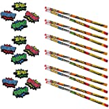 24 Piece Superhero Pencils & Erasers Pack