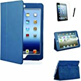 MOFRED® Royal Blue Executive Leather Multi Function Standby Case for iPad Mini / iPad Mini 3 / iPad Mini 4 with Built in Magnet for Sleep / Wake Feature + Screen Protector + Stylus Pen (Available in Multiple Colors)
