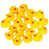 Lumanuby 20 Pcs Bathtime Water Toys Yellow Rubber Ducks for Party And Children