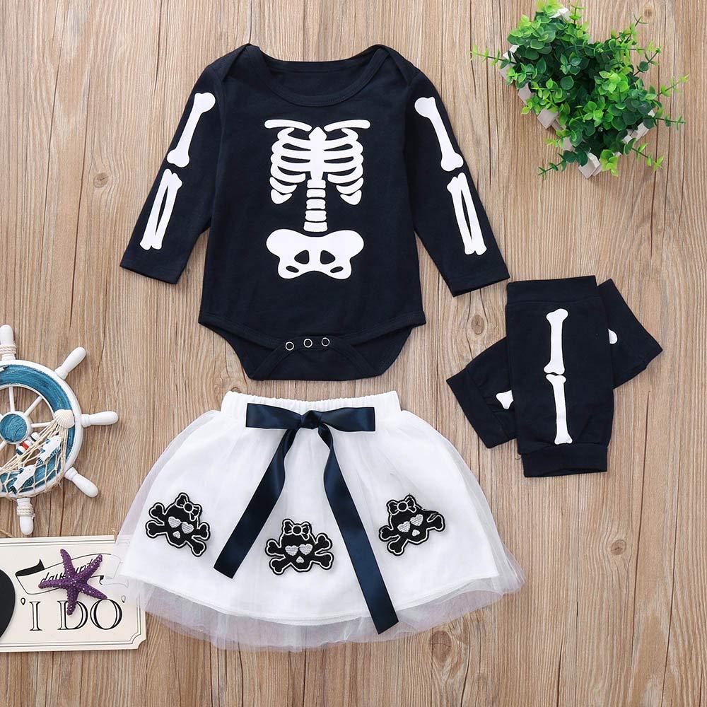 Amazon.com: Halloween Baby Girls Romper Skull Appliques ...